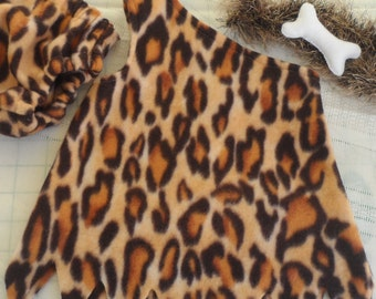 Childs cavegirl costume,  play clothes, tunic and pants, toddler, leopard print, theme outfit, playtime costume, prehistoric, made to order