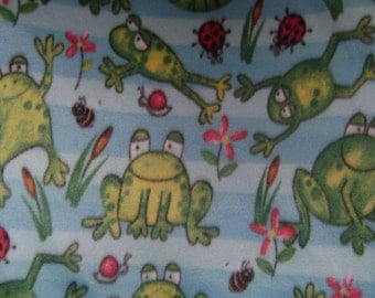 Green Jumping Frogs Fleece Fabric (29 inches)