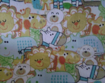 Pastel zoo animals fleece baby blanket