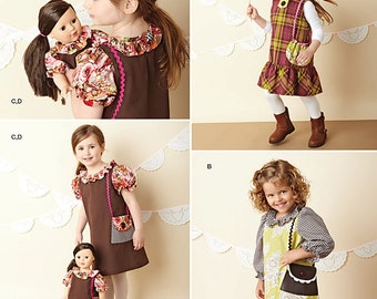 """Simplicity Pattern 1289 Child's Dresses and Doll Dress for 18"""" Doll"""