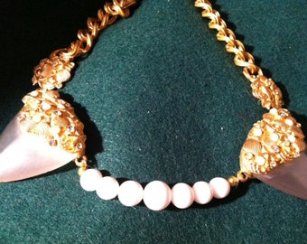 Vintage Choker Necklace eridescent accent shell    ''Sale Buy One & Get One Half Price'