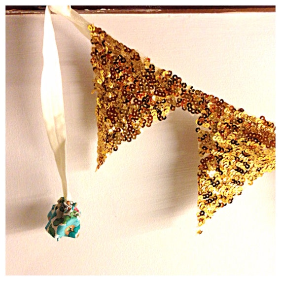 Sequin garland banner bunting with liberty print Pom Pom other colors available!