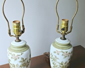 Vintage Pair of Petite Green, White, & Gold Floral Lamps