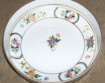Reduced: Vintage NIPPON Hand-Painted Porcelain Serving Bowl with Pastel Floral and Gold Trim Design