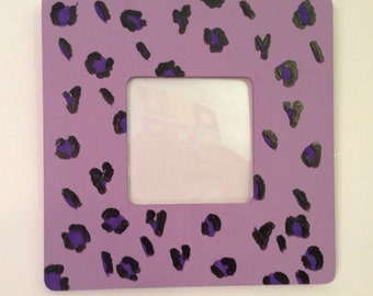 Purple leopard print picture frame with protective cover
