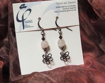 Wired & Inspired earrings - 1728 - Rose quartz stars I