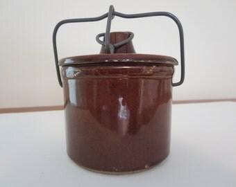 Vintage Brown Cheese Crock