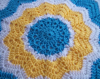 Crocheted Round Ripple Baby Afghan in Blue, Yellow and White