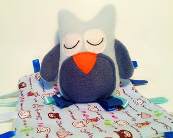 Taggie Blanket & Toy / Fleece Taggie Owl and Blanket Set in Blue