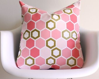 Pink Honeycomb Gold Foil 20x20 Throw Pillow Cover