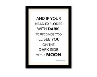 Pink Floyd - Brain Damage Black and White Typography Song Lyric Poster. A3 Wall Art Print.