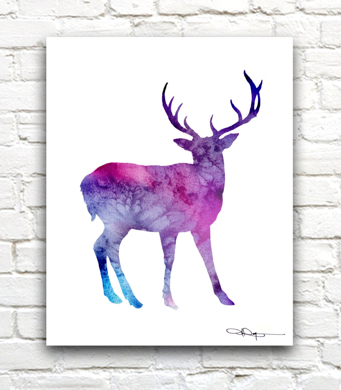 Geometric Purple Deer Wall Art Print Modern Poster Buck: Purple Deer Art Print Abstract Blue Buck Watercolor Painting