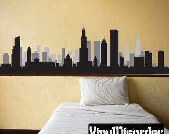 Chicago Illinois Skyline Vinyl Wall Decal or Car Sticker - Vinyl Fabric - Repositionable Decal - SS056ET