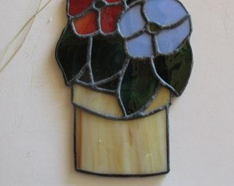Stained glass Suncatcher Flower Pot