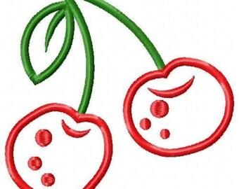 Cherries Applique Embroidery Design 018