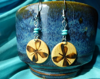 Wood burned Butterflies and Turquoise Lightweight Earrings!