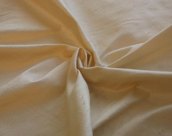 Champagne/ Light Gold Silk Shantung fabric by the yard // Champagne/Light Gold Silk Dupioni