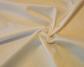 White Cotton Sateen fabric by the yard