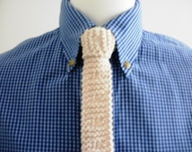 Mens knitted tie, man's hand knitted tie, natural colour, 100% cotton, mod tie, 1960s style.