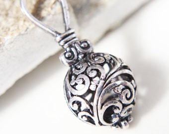 Filigree pendant - Large antique silver plated hollow ball pendant