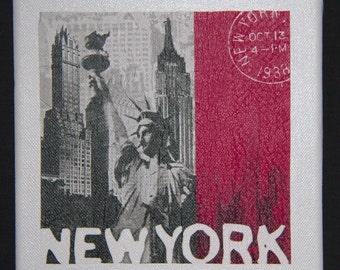 """New York Canvas. Serviette decoupage on canvas. Size is 8"""" x 8"""" (20cm x 20cm). Set of 4 designs available: New York, London, Paris, Berlin."""