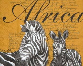 "5x African paper napkin serviettes No 5. Zebra. Ideal for decoupage, scrapbooking, collage, mixed media. Size: 13""x 13"" (33cm x 33cm)"