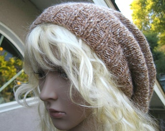 Hand Knit Caf 233 Late Color Slouchy Beanie Loose Fitting