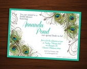 Peacock Bridal Shower Invitation