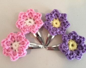 Crochet Flower Hair Clips (Set of Two)