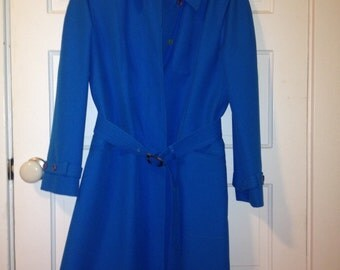 Bright Blue Vintage Trench Coat
