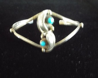 Native American Style Sterling Silver Cuff Bracelet  Turquoise signed RC 11.29 grams World Wide Free Shipping