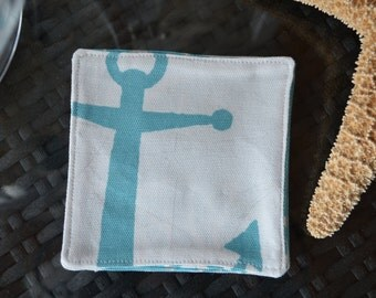 Nautical Themed / Reversible Fabric Coasters, Set of 4