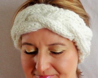 Cable Knit Winter Headband, Ear warmer, White