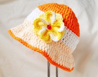 Baby Girl Sunhat, Summer hat with Brim and yellow flower, Orange with white stripe, 6-12 month, Crochet 100% Cotton