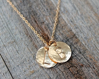 Personalized Gold Initial Necklace / Delicate Hand Stamped Disc Necklace / 14K Gold Filled Initial Necklace / Hammered Disc