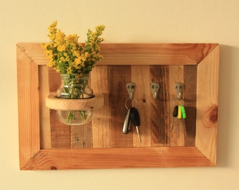 Gorgeous key hanger with flowers made from reclaimed wood. Perfect  as a housewarming prsent or for your home or office
