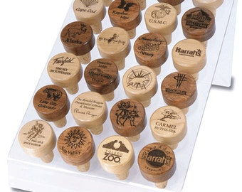 Personalized Maple or Rosewood Wine Stopper Toppers - Great Gift IDEA!