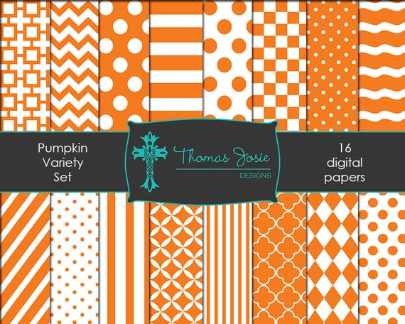 Pumpkin Orange Digital Paper Backgrounds Striped Digital Polka Dot Digital Chevron Digital Quatrefoil Pattern 8.5 x 11 - Instant Download