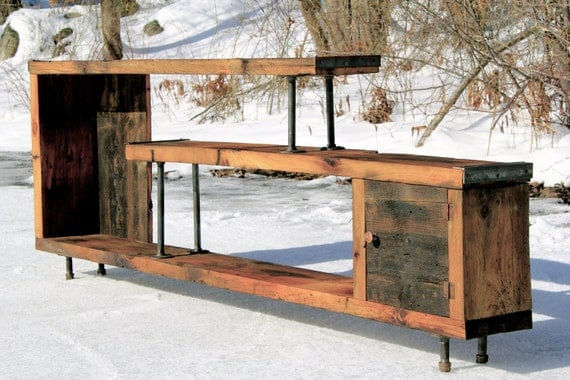 Reclaimed Wood Entertainment Center By Uniqueindustry On Etsy