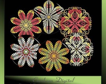 Kaleidoscope Flowers collage sheet  for your crafting projects.
