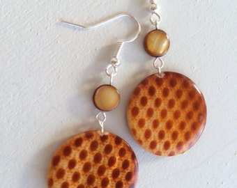 Brown Sugar Mother-of-Pearl Dangle Earrings - checkered brown mother of Pearl disks