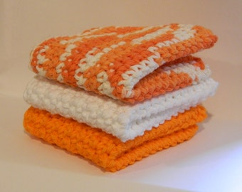 Set of 3 - Crochet Dishcloth - Handmade Cotton Washcloth
