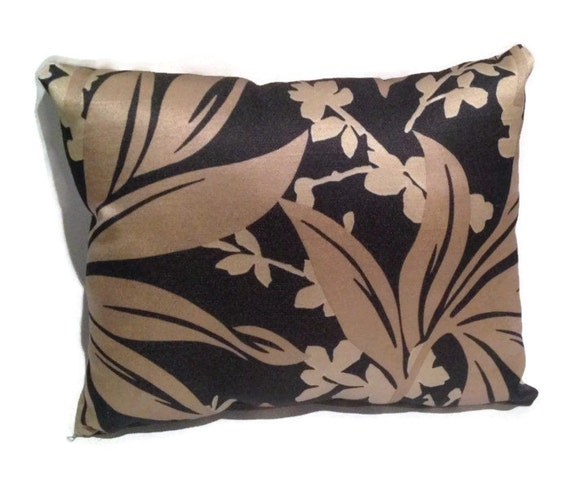Brown Floral Throw Pillow : Brown and Black Floral Throw Pillow