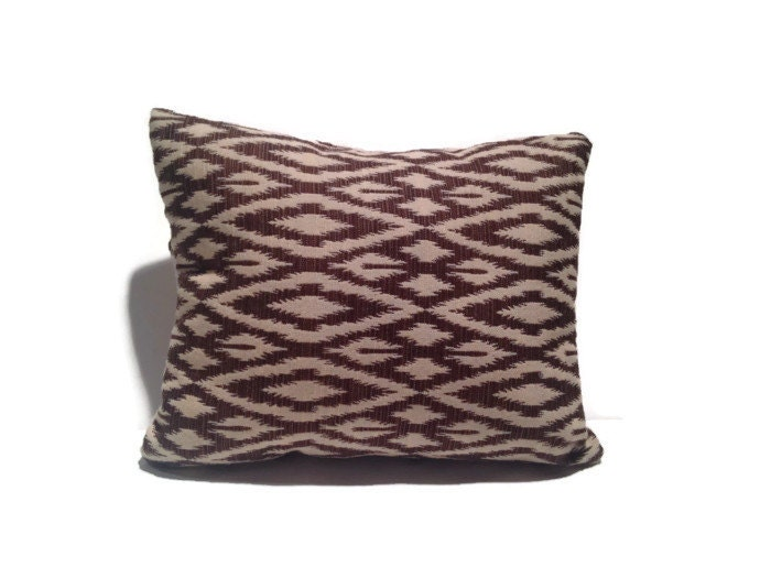 Beige Decorative Throw Pillows : Decorative Brown and Beige Throw Pillow Embroidered Diamond