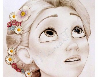 Rapunzel - art print.