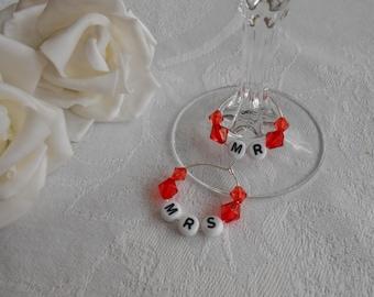 Mr & Mrs Wedding Wine Glass Charms - Range of Colours