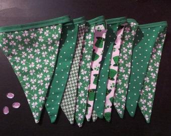 St. Patricks Day St Patty St Paddy Irish bunting - shamrock green and white banner