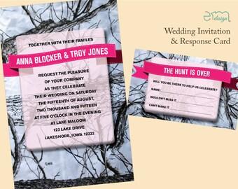 Camo Wedding Invitation, Hunt is Over RSVP Card Camouflage Invitation White Camo Invitation, Pink Camo Invitation, Camouflage Wedding Invite