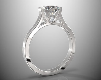 14k white gold engagement ring, 7mm, 1.5 ct  round natural white sapphire and two 2mm white diamonds(G-H/VS-SI), AKR-471