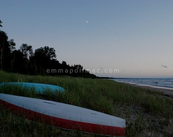 Beach photography upturned boats in grasses, lake at twilight, evening sky moon, soft colors dusk, rustic decor, pretty Mothers Day gift.